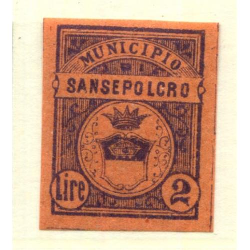 Italy Municipal Revenue  Sansepolcro 2L, OG Proof    i1957