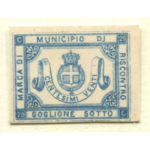 Italy Municipal Revenue  Goglione Sotto  20c, Proof on Card, i1972